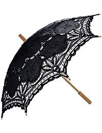Coofit Ombrelle mariage en coton avec dentelles parasol parapluie décoration de mariage mariée parapluie Fait à la main