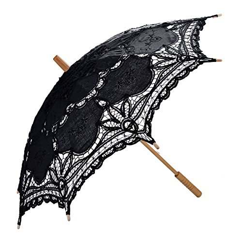 Sonnenschirm Spitze, Coofit Brautschirm Damen Regenschirm Hochzeit Gesticktes Cotton Vintage...