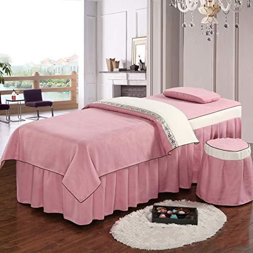 YXLHJ Schönheit Show Körper Massage Bettdecke,4 STK. Massage High-Grade Baumwolle Einfache Europäische Massage Tabelle Plansätze Bettdecken-rosa 185x70cm(73x28inch) (Massage-tabellen-rosa)