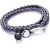 Tribal Steel Women's 38 cm Blue Violet Leather 4-Strand Bracelet with SS Shrimp Clasp, Crystal Charm + Disc