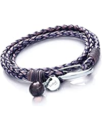 Tribal Steel 19cm Blue Violet Leather 4-Strand Bracelet for Women with SS Shrimp Clasp, Crystal Charm + Disc