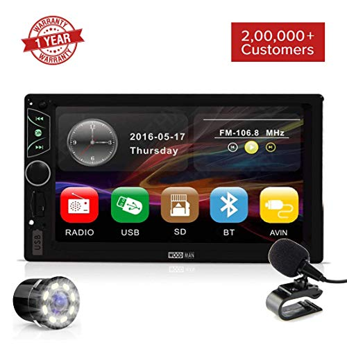 Woodman Wow1 MP5 Touch Screen Car Music System Car Stereo with Mirror Link & External Mic (Double Din) (Wow 1, with Camera)