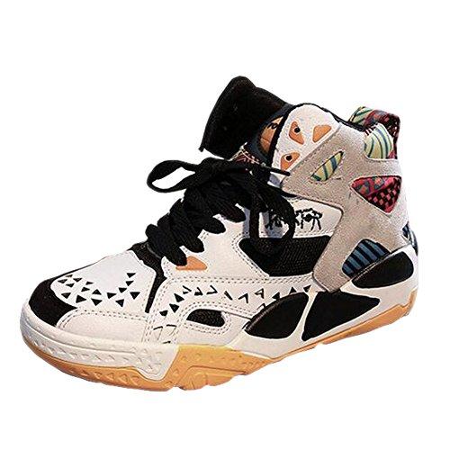 GESIMEI Engrener Fonctionnement Chaussures Décontractée Aptitude Baskets Respirant Basketball Chaussures pour Femmes/ Les adolescents (Veuillez vérifier le tableau des tailles sous l'image principale) Blanc-Orange