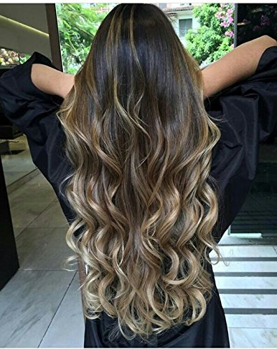 Hair Brown Light Ombre Extension (Ugeat 16 Zoll Hair Extensions Clip in Echthaar 7pcs 120g/package Clips Tressen Echthaar Einnahen #1B/8/18 Ombre Off Black und Light Brown mix Blonde)