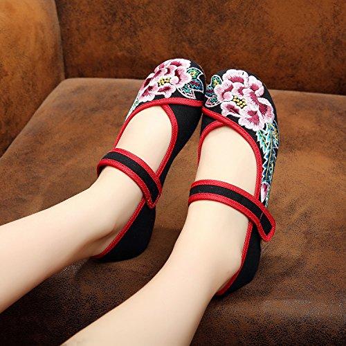 Leinen Black Bequem Schuhe Weibliche Tanzschuhe Gestickte Stil amp;hua Sehnensohle Mode Ethnischer wZEEqO