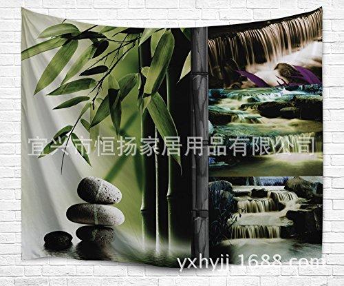 JCDZH-FT Digitaldruck Bambus Wasserfall Strand Handtuch Tapisserie Teppich, 203x153cm