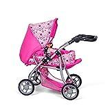 MINI MOMMY DISVALTOYS Carro de muñecas 3 en 1 - Transformable en sillita - Capazo extraible - manillar regulable en altura: 30 - 62 cm - plegable. - Cochecito de muñecas - Pink