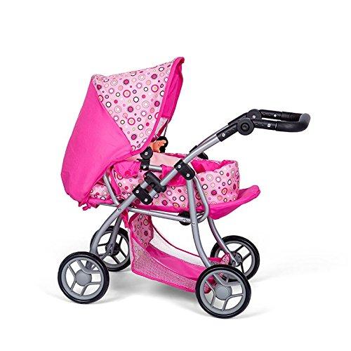 MINI MOMMY DISVALTOYS Carrozzine di bambola - Trasformabile in una sedia - Culla rimovibile - Manubrio regolabile in altezza: 30 - 62 cm - pieghevole. - Passeggino per bambole - Rosa - 3 in 1