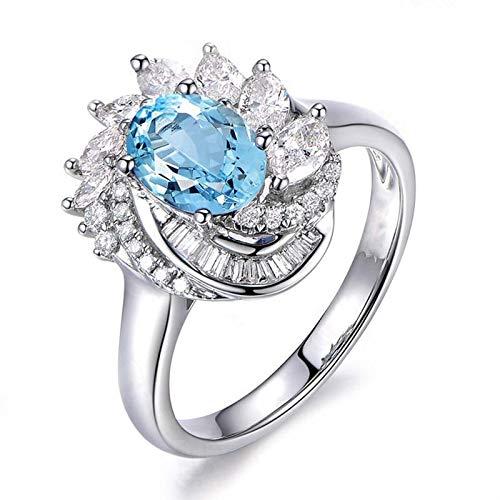 SonMo Ring Solitär 925 Sterling Silber Verlobungsring Hochzeit Ring Heiratsantrag Ring Silber Welle Blume Zirkonia Solitär Ring Hellblau Topas Ovalschliff Ringe für Frauen 57 (18.1)