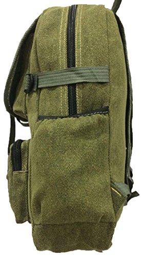 Aimerfeel grande borsa di tela denim elegante sport / scuola / campeggio zaino e zaino in verde, nero e marrone Verde