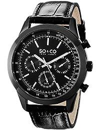 SO & CO New York Monticello Co para hombre reloj infantil de cuarzo con esfera analógica y negro correa de piel 5006al, 4