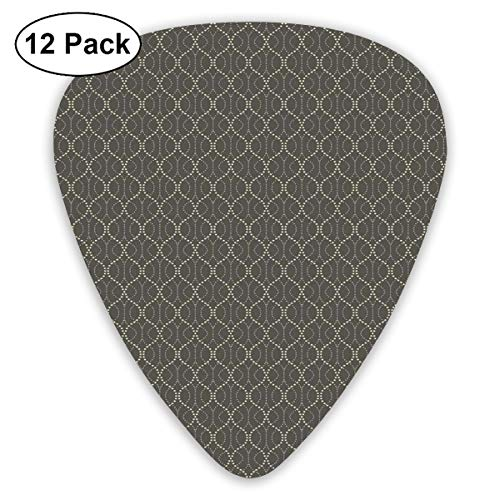 Celluloid Guitar Picks - 12 Pack,Abstract Art Colorful Designs,Retro Funky Art Nostalgic Abstract Design With Wavy Dotted Lines,For Bass Electric & Acoustic Guitars. -