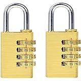 2 stuks combinatieslot messing 4-cijferige combinatie hangslot, messing hangslot combinatie, geschikt voor binnen en buiten,