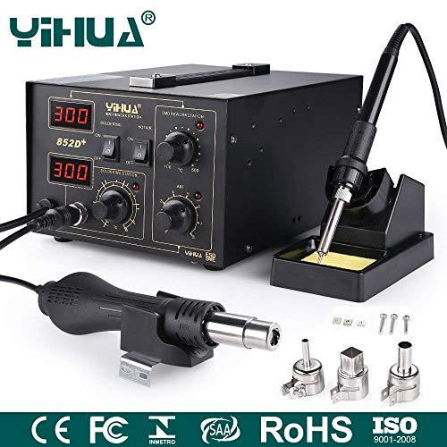 Mbuynow YIHUA SMD Lötstation 852D+(Bürstenloser Lüfter), 2 in 1 SMD rework Station Heißluftpistole Heißluftation Regelbare Digitale Lötstation, 650W Heißluftpistole und 45W Lötkolben