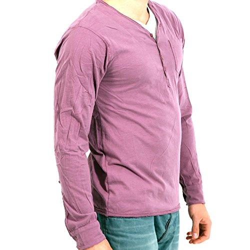 FRECH BRAND Herren Langarm Shirt in Lila Lila