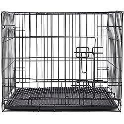 SL&ZX Klappbarer Metall hundebox,Draht-k?Fig, Hund Haustier kiste Abdeckung Katze k?Fig k?Fig Haustier laufstall Pet hundehütte-1 Tür 75x48x55.5cm(30x19x22inch)