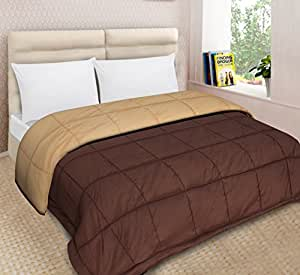 Urban Basics Brown Beige Ultra Soft 200 GSM Microfibre Reversible Double Bed King Size Comforter for Home & Bedroom (90 in x 100 in)