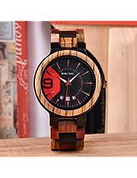 BOBO BIRD Reloj de Pulsera Militar de Cuarzo para Hombres con Reloj de Madera y Calendario