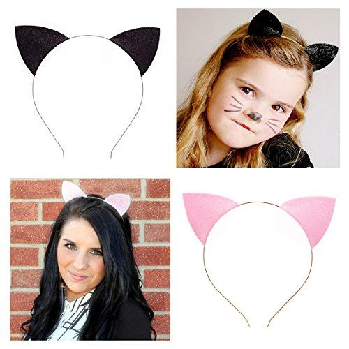 tpocean 2Sweet Pink Schwarz Spitze Katze bunny Ohren Kopfband Sexy Hair Band Spannreifen Frauen Mädchen Make-up mit Kopfbedeckungen für den täglichen Cosplay Kostüm Party