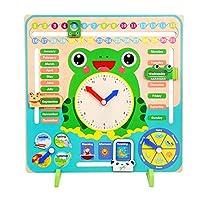 Ingrirt5Dulles Wooden Clock Calendar Weather Season Month Cognitive Board, Kids Early Educational Toy,Improve Children
