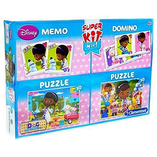 Doctora Juguetes Doc McStuffins-Spiel Memo-Kit mit 2Puzzles von 30Teile und Domino (Clementoni 8206) (Domino-spiel Kit)
