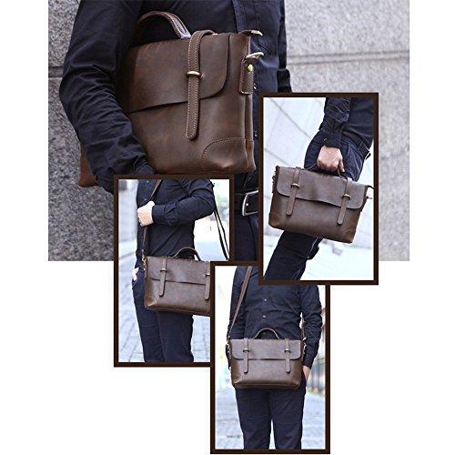 5 All Aktentasche Herren echte Büffel-Leder Vintage (Braun) Braun