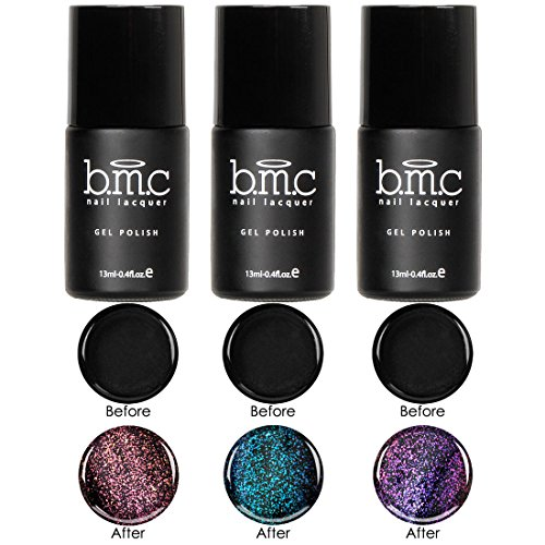 BMC 3 pièces Mignon Transparent Non Wipe irisé UV/LED Gel Polish Haut Manteau Set - Nirvana