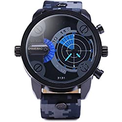 XIN&ZA Men¡®S Double Movement Radar Watches Military Camouflage Leather Strap Watch Cool Watch Unique Watch