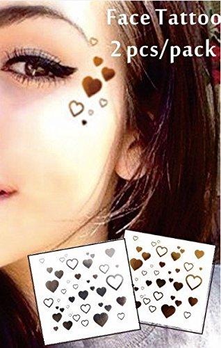 Visage Yeux Tattoo Autocollants Tatouages Temporaires Lot de 2 F02 or et argent pour le visage Glitter Maquillage Effet pour Party Festival Spectacles et Scène de auftritte