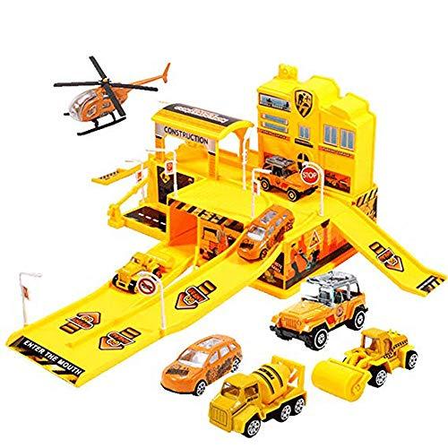 HXPH Assembling Tracks Toys Modelle Fahrzeug Spielsets für Kinder, City Track Toys Sets mit 5 Stück Assorted Alloy Metal Mini Car (gelb)