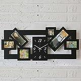 MCC Marco de Fase del Reloj de Pared de Madera Grande de la Familia del Cuarzo Mudo Rectángulo Relojes con 6 Fotos de los Cuadros , black