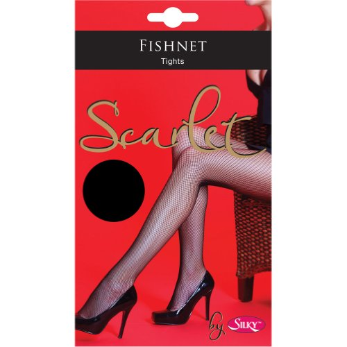 Silky Damen Scarlet Netzstrumpfhose (X-Large) (Schwarz) - Scarlet Fishnet