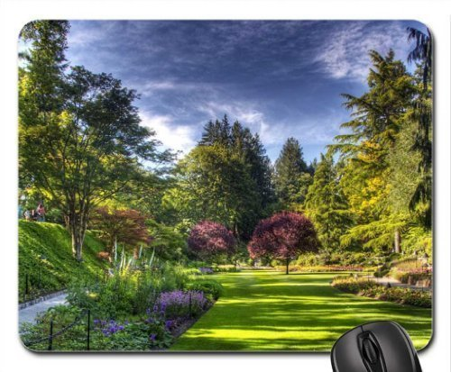 VAICR Mauspad Wonderful butchart Gardens in Victoria Canada HDR Mouse Pad Computer Mouse Mat Premium-Textured Surface,Non-Slip Rubber Base,Laser Optical Mouse Compatible (Flowers Mouse Pad)