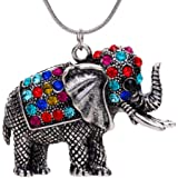 YAZILIND Tibetan Silver Colorful Crystal Cute Elephant Pendant Necklace
