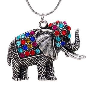 YAZILIND Tibetan Silver Colorful Crystal Cute Elephant Pendant Necklace