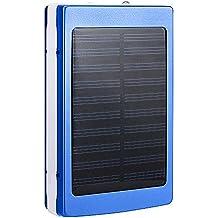 Cargadores Solares, Zolimx 30000mAh Universal Portátil USB Doble Cargador de Batería Solar Externa Potente Banco de Energía LED Luz Solar Con Cables de Cargador USB(Azul)