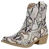 SCARPE VITA Damen Stiefeletten Cowboy Boots Leder-Optik Snake Print Western Schuhe Holzoptikabsatz Booties 175109 Hellbraun Snake 39