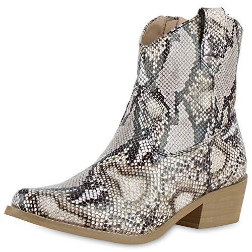 SCARPE VITA Damen Stiefeletten Cowboy Boots Leder-Optik Snake Print Western Schuhe Holzoptikabsatz Booties 175109 Hellbraun Snake 36