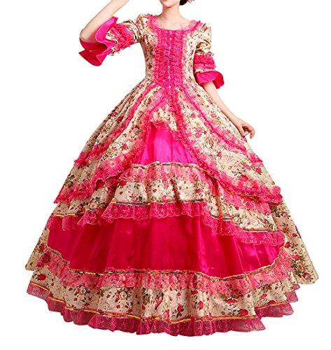 NuoqiDamen Satin Gothic Victorian Prinzessin Kleid Halloween Cosplay Kostüm (32, CC2377C) (Halloween-kostüme Gothic)
