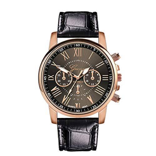 XZDCDJ Damen Uhr Armbanduhr Bracelet Jungen Uhr Frauen Lederband Quarz analog Armbanduhr Schwarz 50 -