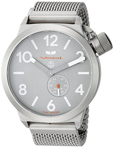 Vestal 'Canteen Metal' Quartz Stainless Steel Casual Watch, Color:Silver-Toned (Model: CNT453M09.MSVM)
