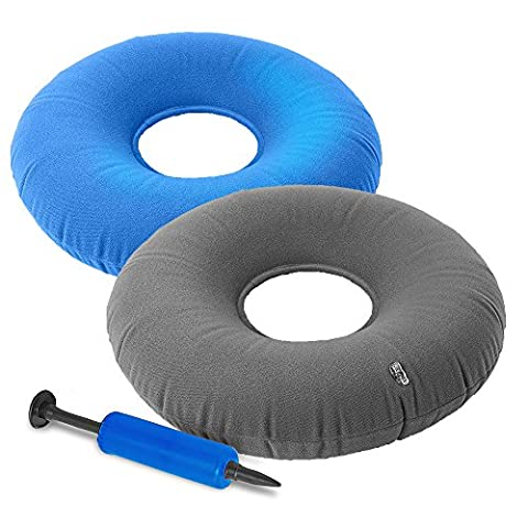 (2 Pack) Medically Approved Inflatable Ring Cushions with Air Valve for Adjustable Firmness - 15 inches wide. Comfortable pillow and Pain Relief for Bed Sores, Tailbone, Haemorrhoid and Coccyx Pain, or General Back and Pregnancy pain – Air pump