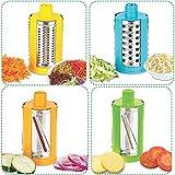JD Brand Plastic, 4 in 1 Drum Grater Shredder Slicer for Vegetable, Fruits, Chocolate, Dry Fruits, Salad Maker with 4 Different Attractive Drums Vegetable Cutter, Slicer, Dicer, (Multicolour)