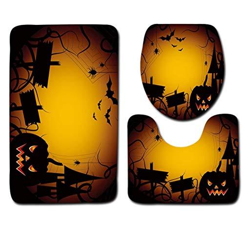 SEWORLD Halloween Schwarze Katze WC Sitzbezug und Teppich Badezimmer Set Halloween Dekor(C,45x75cm)