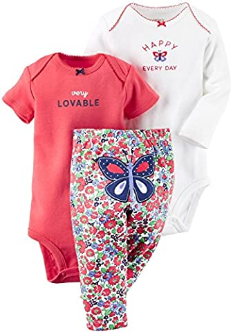 Carter's 3-Piece MIX 'N MATCH Baby/Toddler Girls 'Happy Every Day' Bodysuit & Pant Set (Newborn)