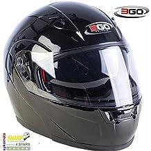 3GO E115 CASCO DE MOTO MODULAR INTEGRAL DOBLE VISERA HOMOLOGADO PARA MUJER HOMBRE NEGRO BUEN PRECIO (M (57-58 CM))