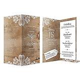 40 x Hochzeitseinladungen individuell mit Ihrem Inhalt als DIN Lang hoch Klappkarte 99 x 210 mm - Rustikal mit weißer Spitze