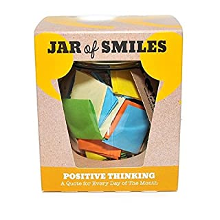Positive Thinking Quotations In a Jar. A Month of Inspirational & Motivational. Take One A Day to Keep You On Track to your Challenges and Goals. All in an Attractive Orcio Glass Jar. The Perfect Gift