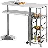 Table haute de bar mange-debout comptoir JOSUA MDF décor blanc