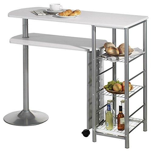 IDIMEX Bartisch Stehtisch Tresen JOSUA, in weiß/alu, mit Regal und schwenkbarem Tisch